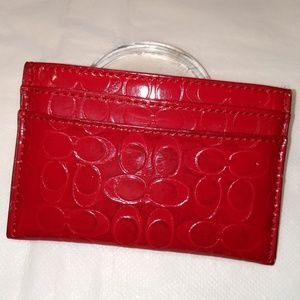 COACH Red Patent Leather Card Case Holder